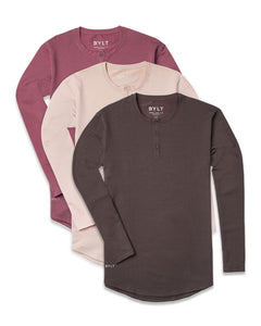 Henley Drop-Cut L/S - Custom 3 Pack