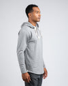 Drop-Cut: LUX Hooded Henley Heather Grey