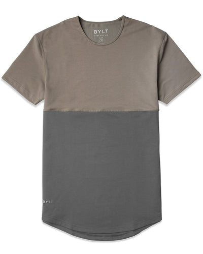 Dual-Panel Drop-Cut Shirt: LUX Olive/Charcoal