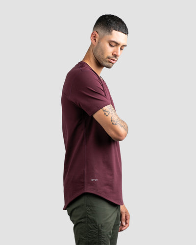 Drop-Cut V-Neck: LUX Maroon