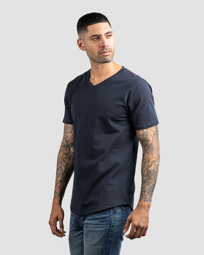 Drop-Cut V-Neck: LUX Navy