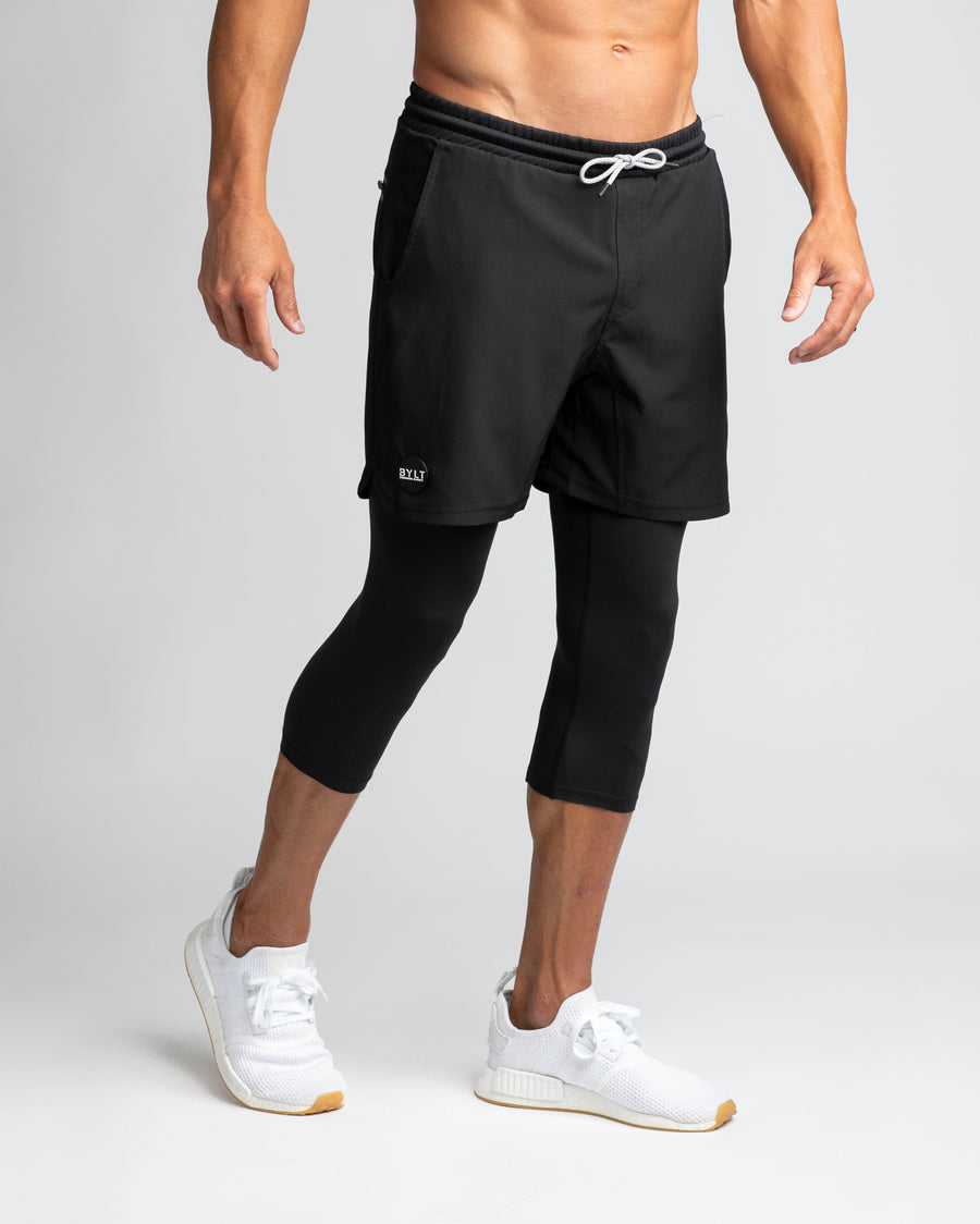 Black - Three Quarter Active Short