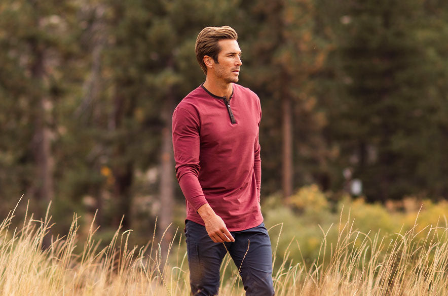 Henley Drop-Cut Accent Long Sleeve