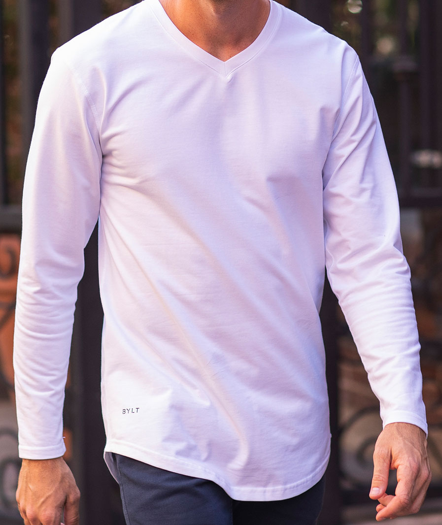 Drop-Cut V-Neck Long Sleeve