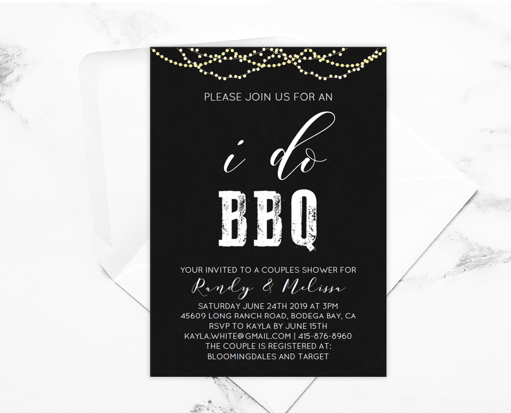 Chalkboard BBQ Couple Wedding Shower Invitation Template - Instant