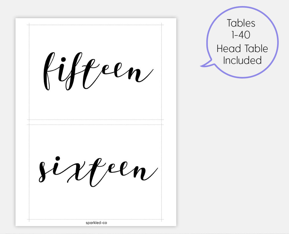 Calligraphy black table numbers template