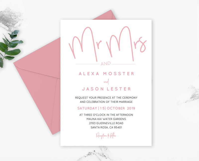 Blush Script Mr and Mrs Wedding Invitation Template