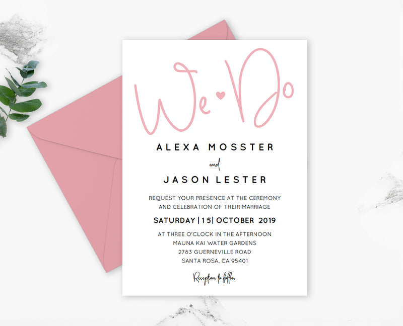 Blush Script We Do Wedding Invitation Template