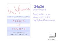 Blush Script Welcome Sign Template