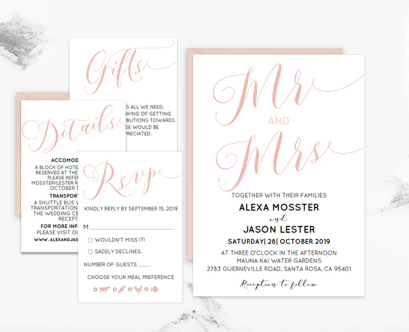 Blush Mr and Mrs Loose Calligraphy Wedding Invitation Set Template