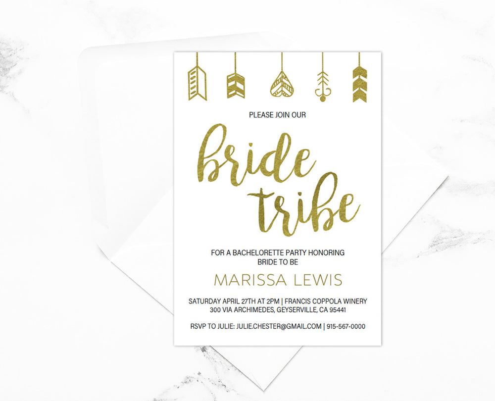 ... Bride Tribe Bachelorette Party Gold Invitations Editable Printable ...