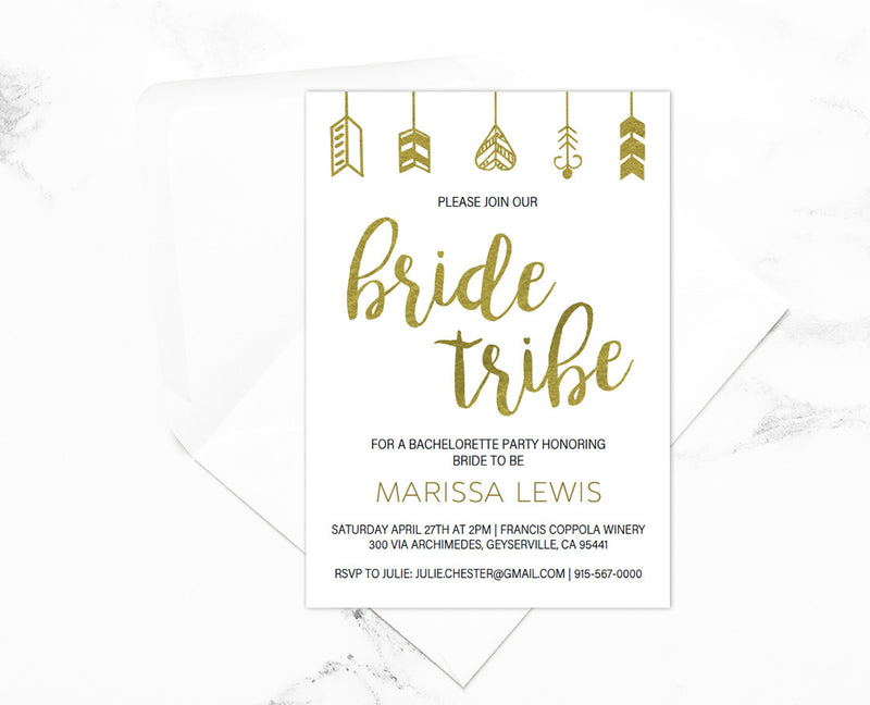 Bride Tribe Bachelorette Party Gold Invitations Editable Printable