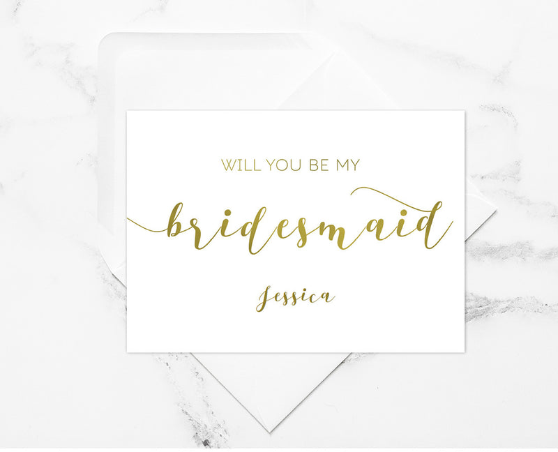 Calligraphy DIY Editable and Printable Gold Bridesmaid & Wedding Party Invitation Set Template