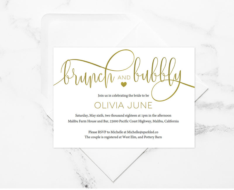 Brunch Bubbly Editable and Printable Bridal Shower Gold Invitation