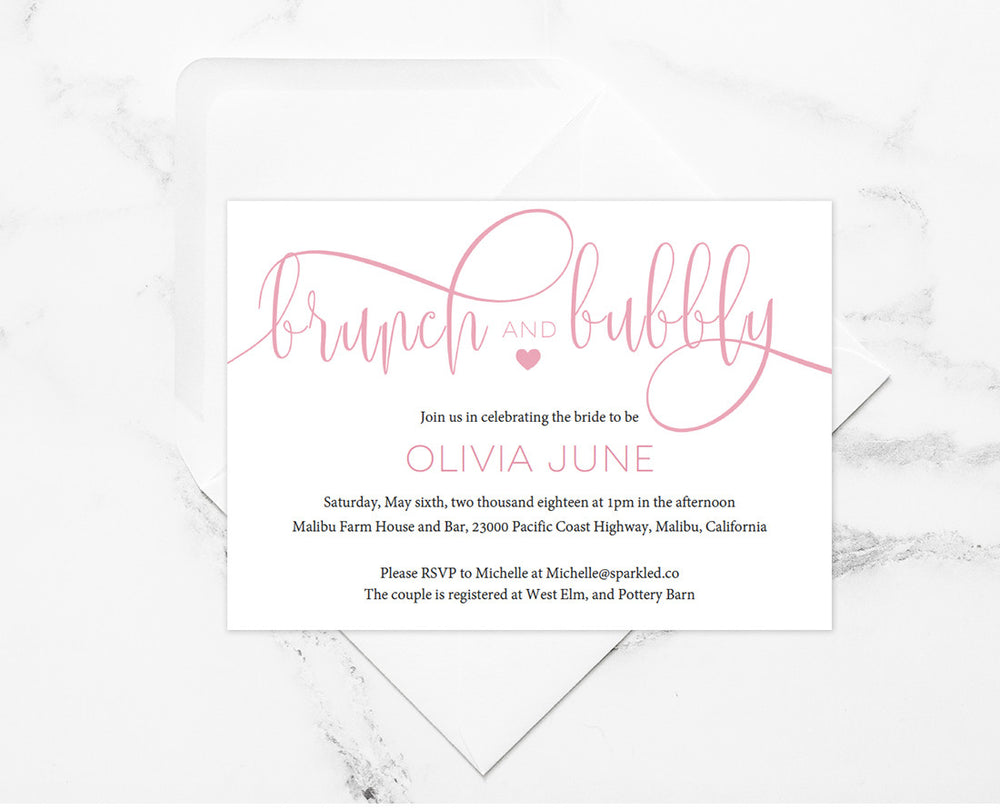 Blush Brunch and Bubbly Bridal Shower Invitation - Instant Download