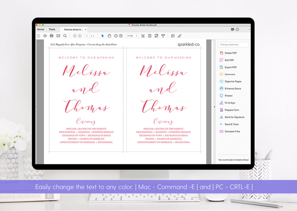 Calligraphy Custom Color Wedding Program Fan And Flat Template