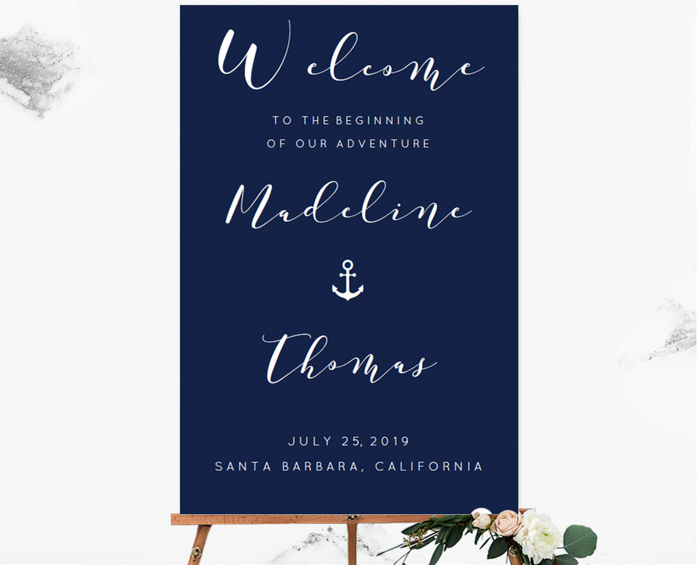 Calligraphy Nautical Custom Color Welcome Sign Template