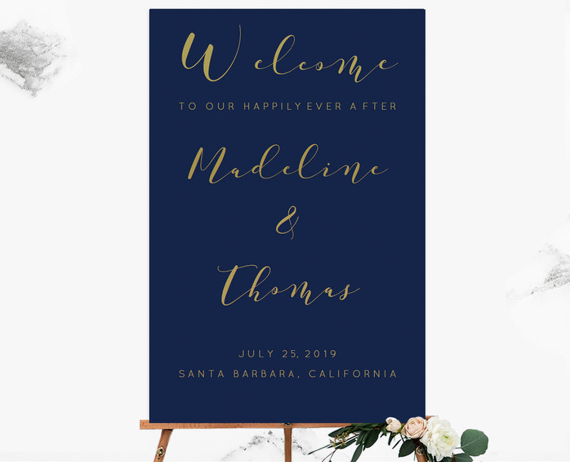 Calligraphy Navy Gold Custom Color Welcome Sign Template