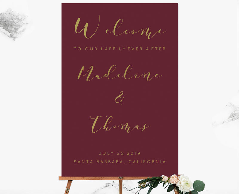 Calligraphy Burgundy Custom Color Welcome Sign Template