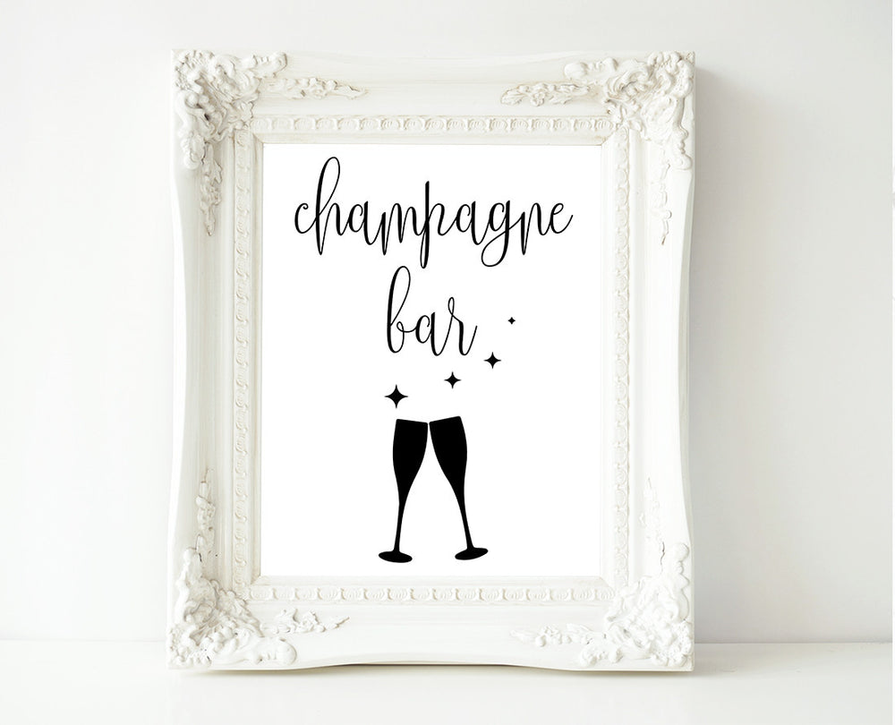 Calligraphy Champagne Bar Printable Wedding Sign