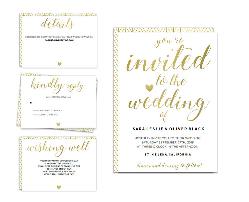 Calligraphy Heart DIY Editable and Printable Gold Wedding Invitation Set
