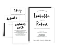 Calligraphy DIY Editable and Printable Black Wedding Invitation Set Template
