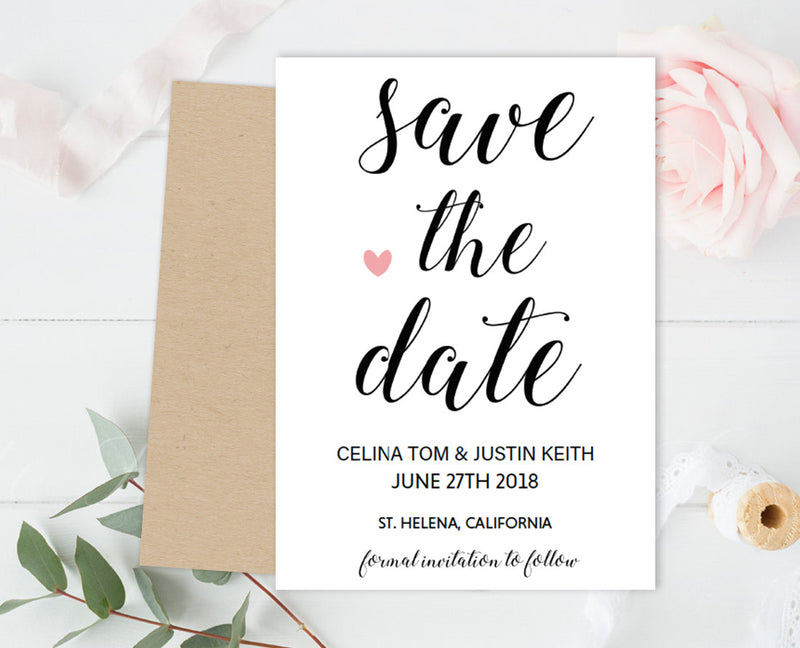 Calligraphy DIY Editable and Printable Pink Heart Save the Date