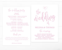 Calligraphy Heart Blush Wedding Program Template