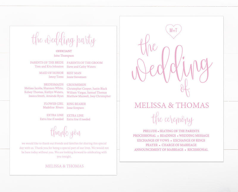 Calligraphy Heart DIY Editable and Printable Blush Wedding Program Template