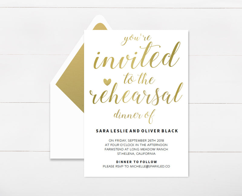 Rehearsal dinner youre invited to the rehearsal dinner of gold rehearsal dinner invitation template stopboris Choice Image
