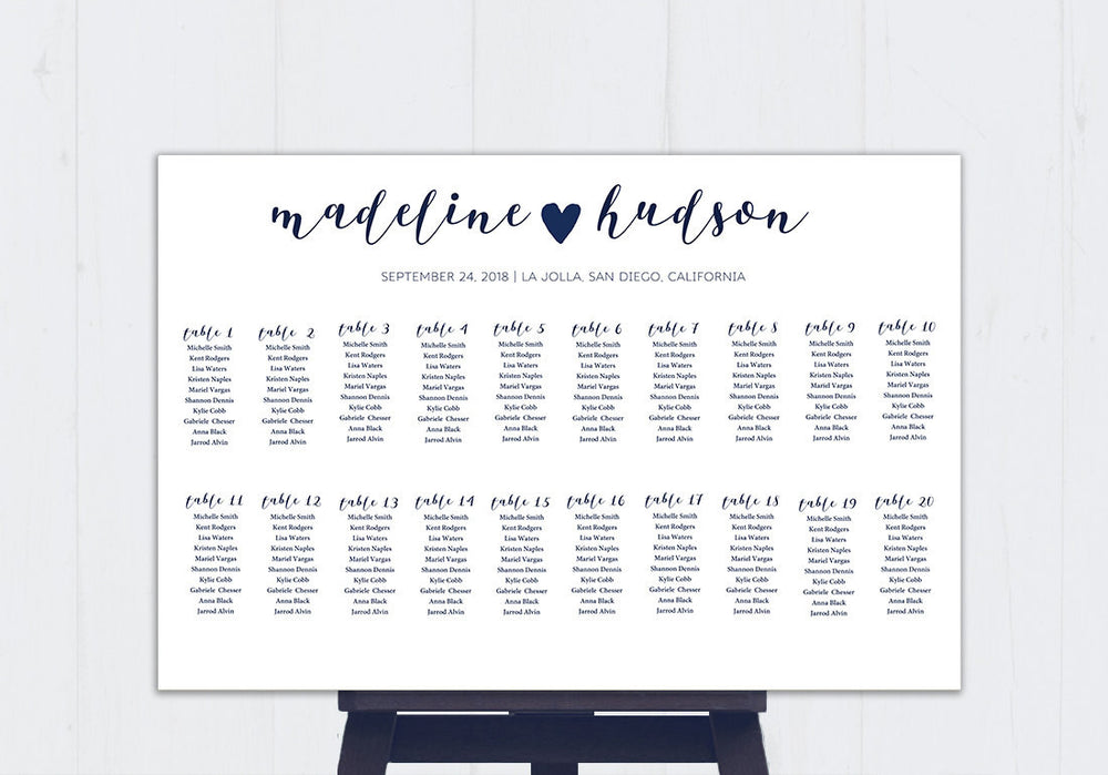 Calligraphy Heart DIY Editable and Printable Navy Seating Chart