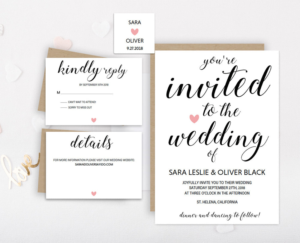 Calligraphy Heart DIY Editable and Printable Pink Wedding Invitation Set