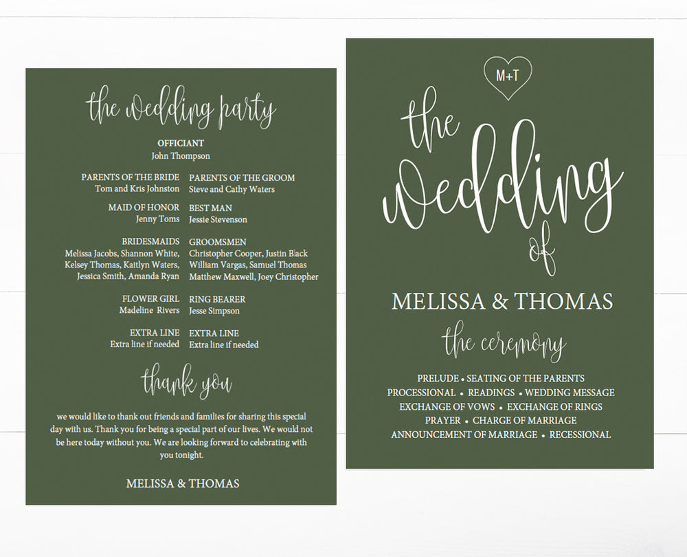 Calligraphy heart forrest green wedding program template pronofoot35fo Choice Image