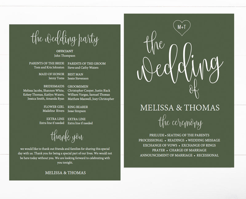 Calligraphy Heart Forrest Green Wedding Program Template
