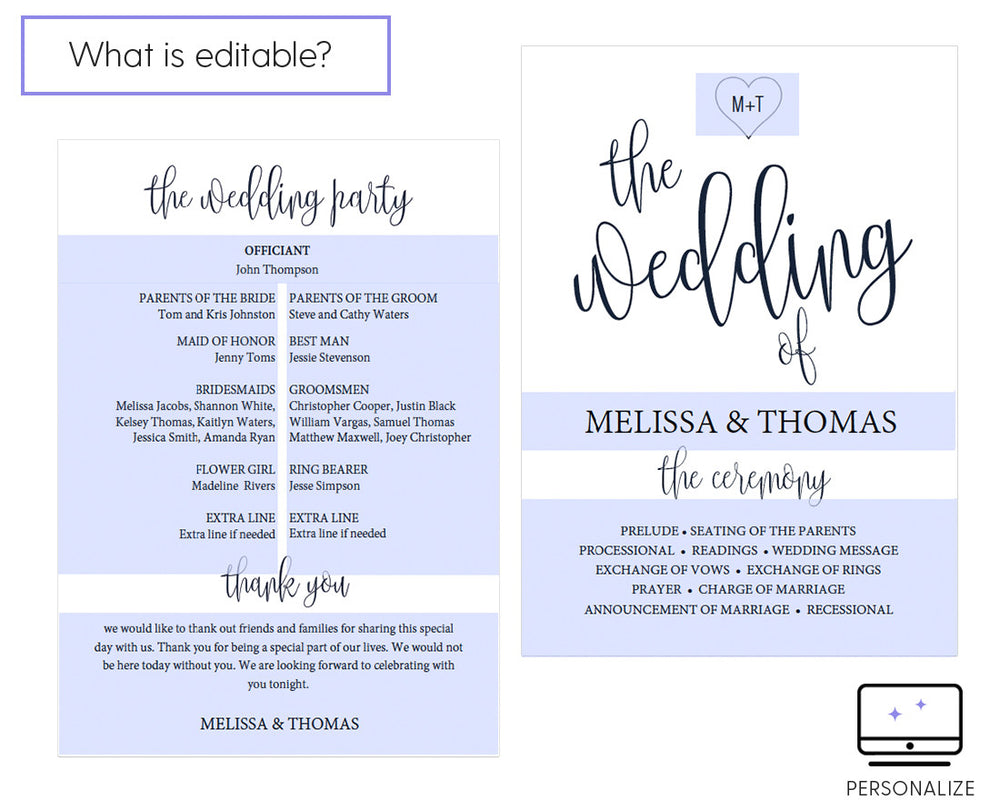 Calligraphy Heart Navy Wedding Program Template