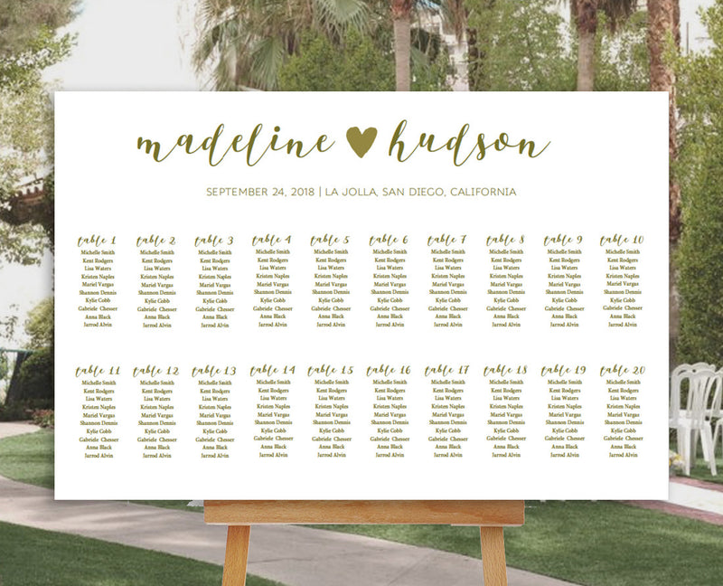 Calligraphy Heart Editable and Printable Gold Seating Chart