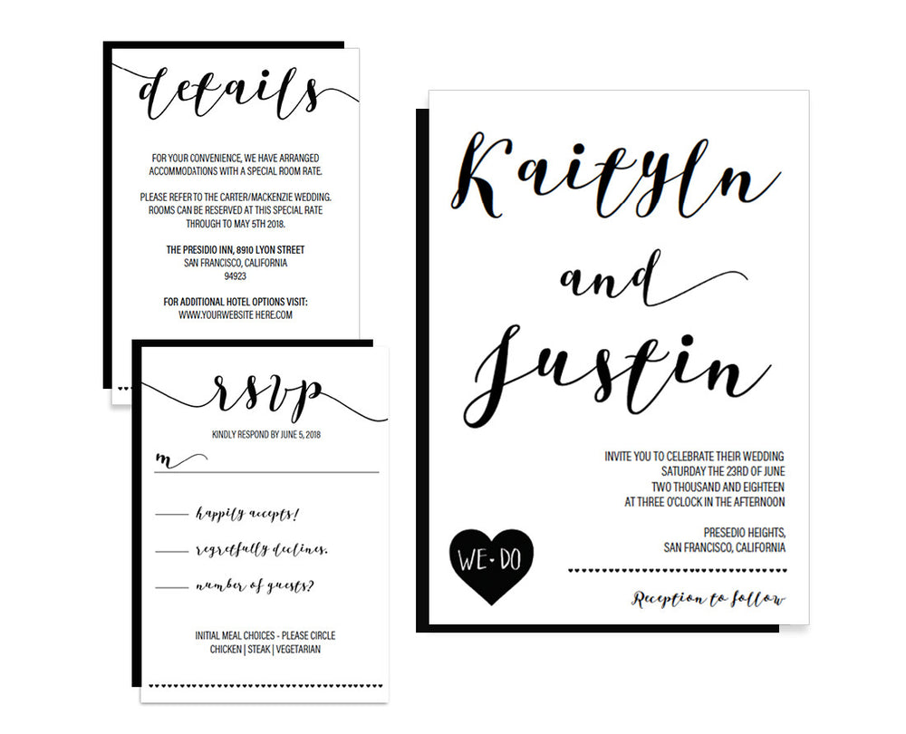 Calligraphy Heart Black Wedding Invitation Set Template - Free