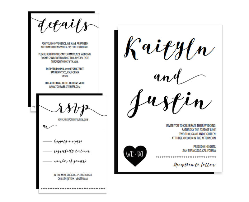 Calligraphy Heart DIY Editable and Printable Black Wedding Invitation Set Template - Free