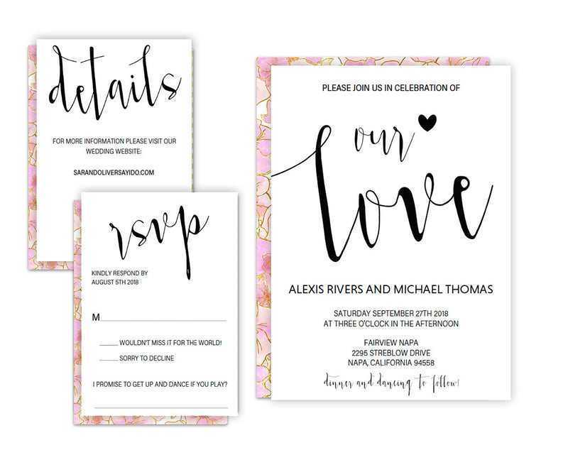 Our Love DIY Editable and Printable Black Wedding Invitation Set Template
