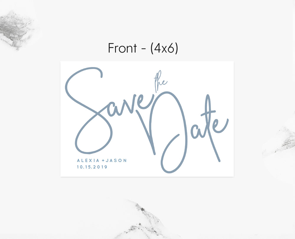 Dusty Blue Script Save the Date Postcard Template