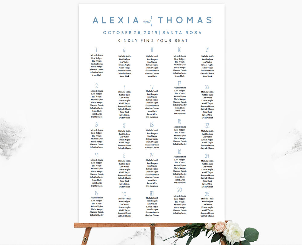Dusty Blue Script Seating Chart Template