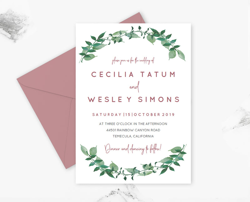 Dusty Rose Greenery Wedding Invitation Template