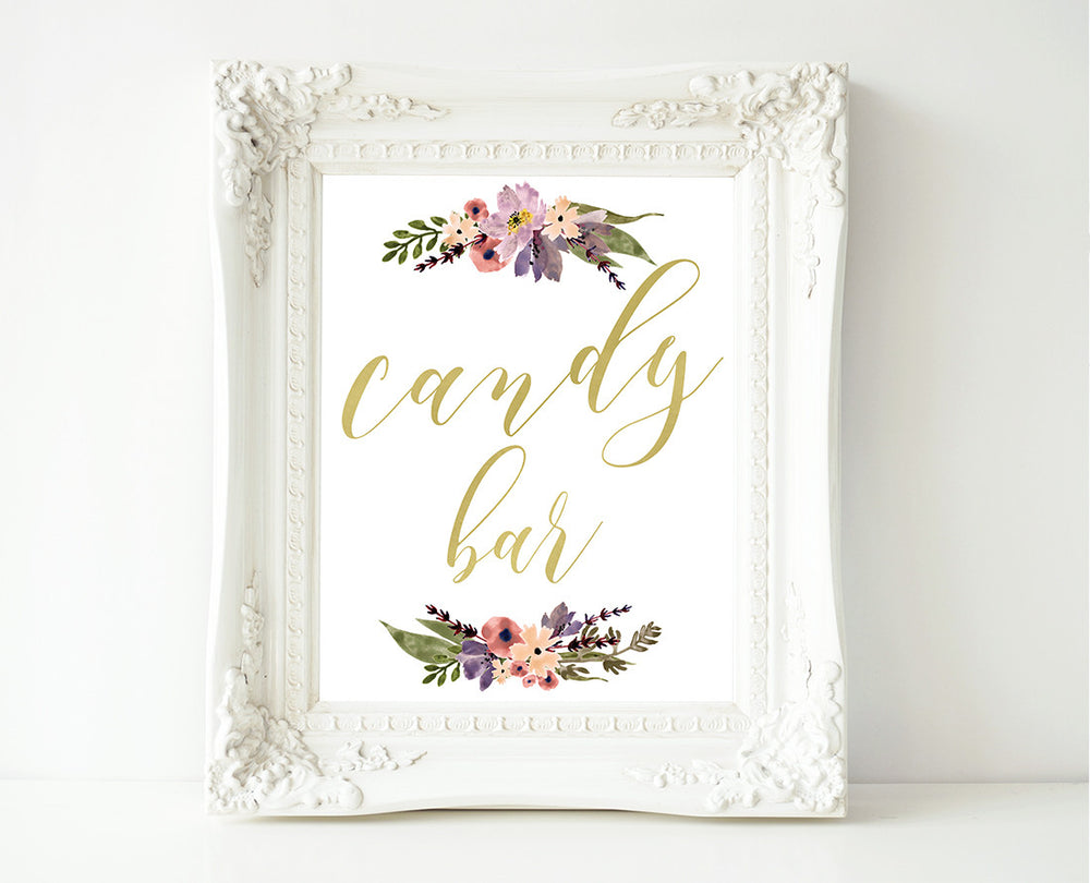 Gold Boho Floral Candy Bar Wedding Sign Template