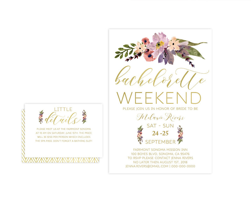 Gold Boho Floral Bachelorette Weekend Party Invitation Template