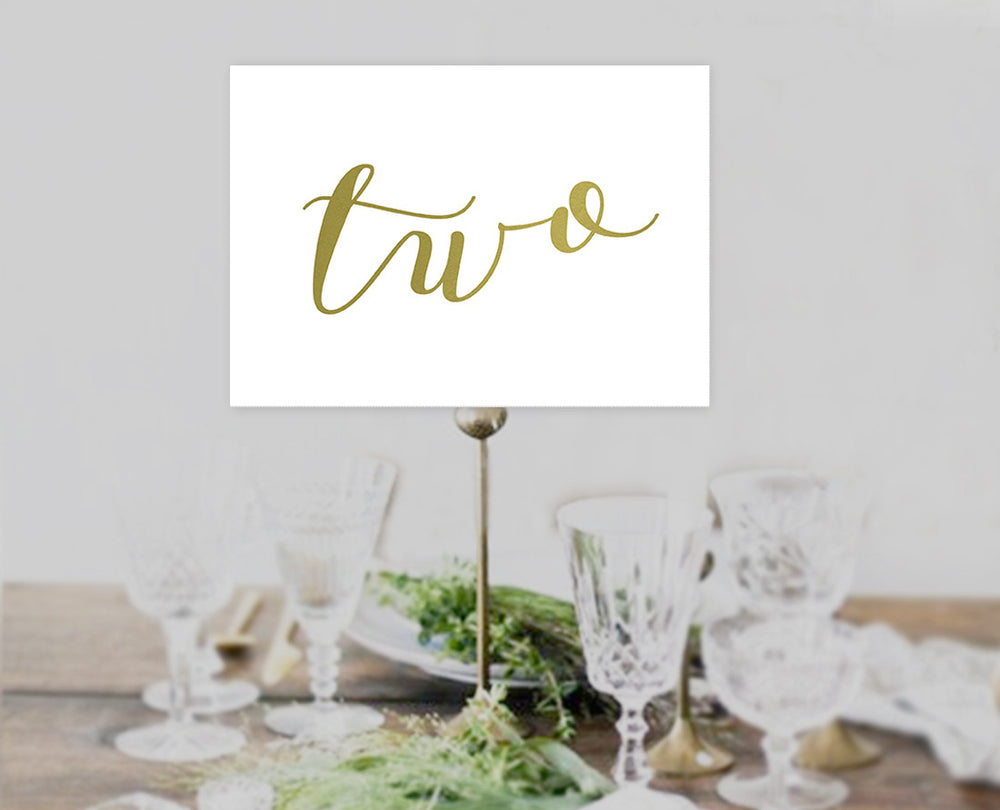 Calligraphy Gold 1-40 Table Numbers Template