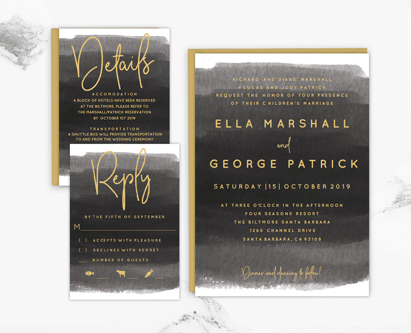 Gray Watercolor Wedding Invitation Set Template
