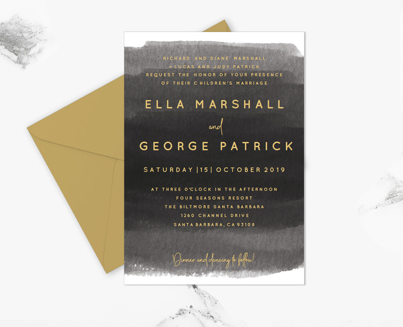 Gray Watercolor Wedding Invitation Template