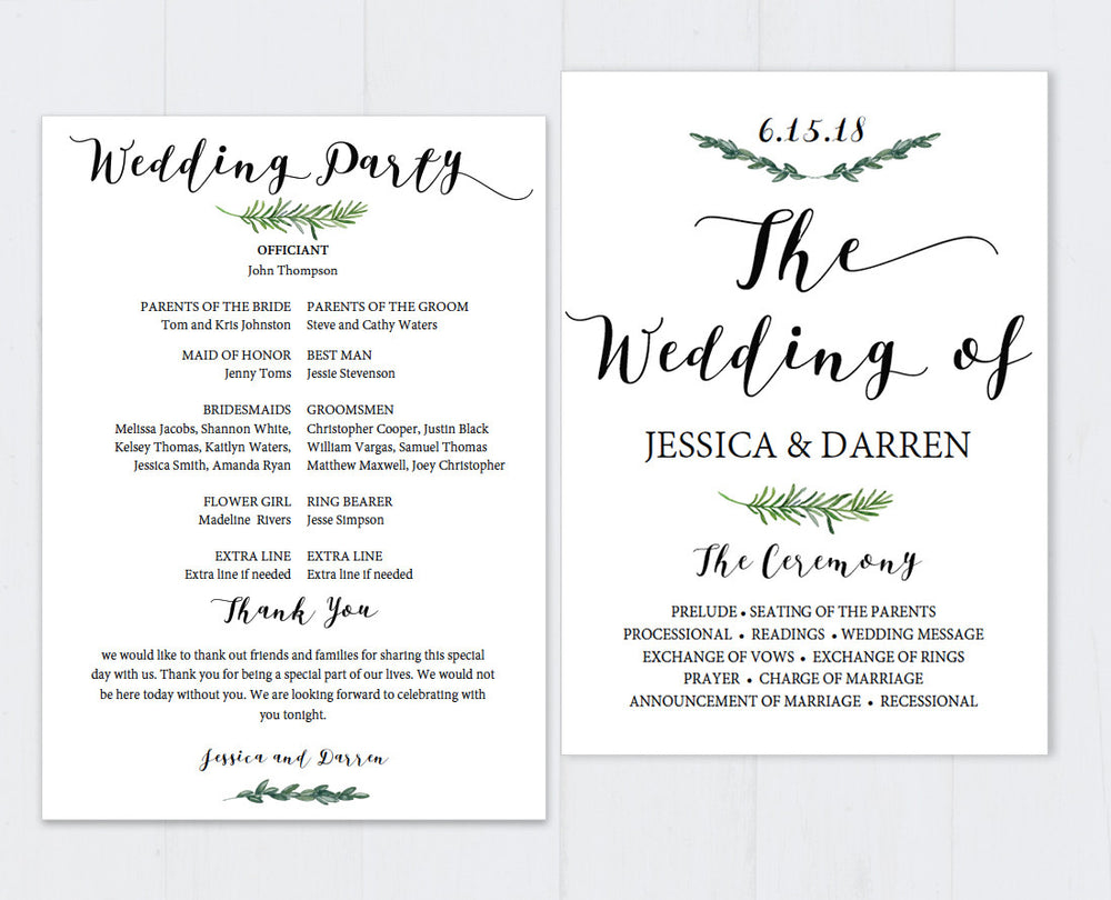 Greenery Editable and Printable Wedding Program