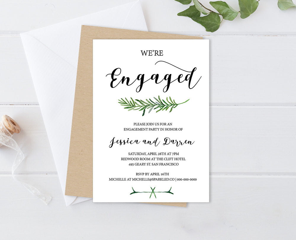 ... Greenery Editable And Printable Engagement Party Invitation ...  Engagement Party Invitation Template