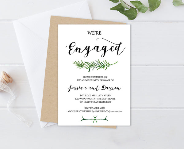 Greenery Editable and Printable Engagement Party Invitation
